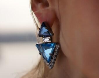 SALE Ilsa - Azure Swarovski Crystal Statement Earrings, Wedding Earrings - Ready to ship