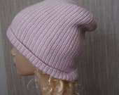 Pure Cashmere Light  Pink Ribbed Hand Knit Soft Warm Beanie Hat