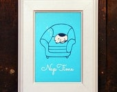 Nap Time - Cat Mini Print - 4x6 - Screen Print