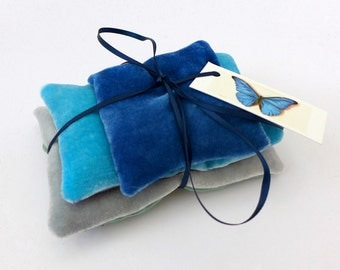 UK lavender pillows, set of three hand-painted sachets in grays & blues, velvet and contrasting organza.