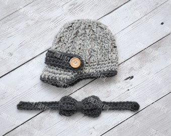 Newborn boy hat baby boy hat newsboy hat and bow set grey gray photography prop infant boy photo prop crochet knit baby hat - MADE TO ORDER