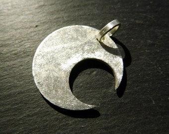 Moon, silver Moon, Luna, Crescent, sterling silver, silver, brushed, matt