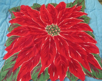 Gorgeous Poinsettia Christmas Hanky Handerchief Hankie