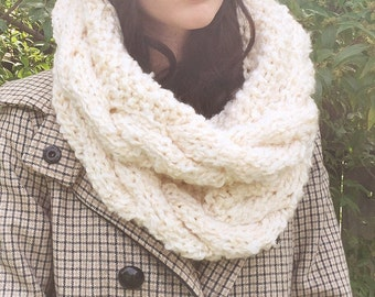 REDUCED* Victoria- Oversized Chunky Cabled Cowl/Snood