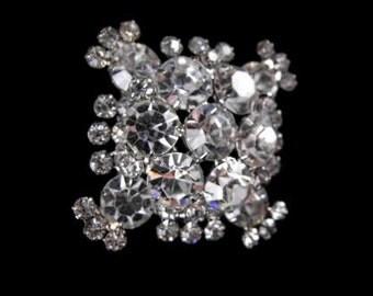 Juliana Snowflake Brooch Icy Clear Rhinestones Silver Tone Three Tiers Superb Sparkle