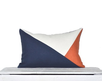 Side Envelope Modern Colorblock Pillow Cover - Navy / Persimmon Combo