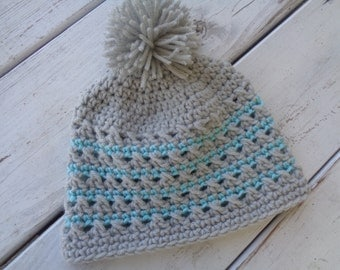 Crochet Girls Hat with Puff Ball- Light Grey and Aqua- Newborn to Toddler MADE TO ORDER