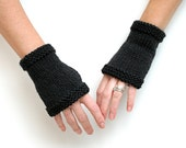 Basic Black Mitts ~ Hand Knit 100% Merino Wool Fingerless Gloves Short Hand Wrist Warmers Cuffs Natural Fiber Soft Women Fashion Accessory