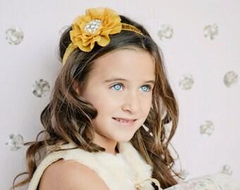 Gold chiffon Headband, mustard yellow headband, satin flowers