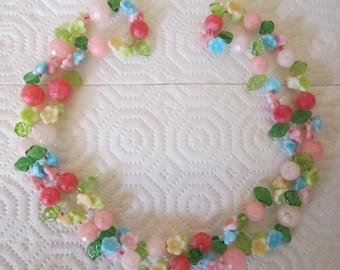 Vintage pastel floral garland necklace. flower jewelry. floral necklace