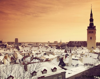 Travel wall art, Tallinn medieval old town view winter, art print, Estonia, architecture orange sky sunset photo, snow cityscape