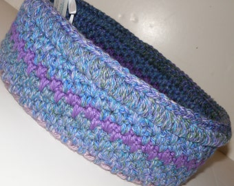 Crochet Cat Bed, Large Storage Basket in Sea Blues with Lavender Stripe, Rag Rug Inspired Travel Pet Bed Round