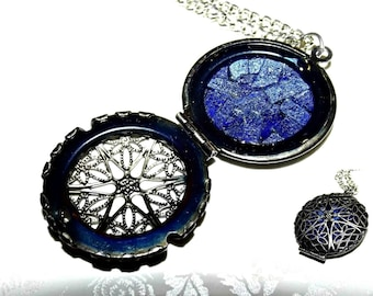 Shattered Royal Sapphires Mosaic Glass Locket Necklace