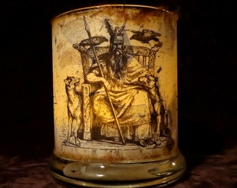 Medium Odin Candle holder/ luminary with mango leaf paper - Norse God Odin. Medium size.