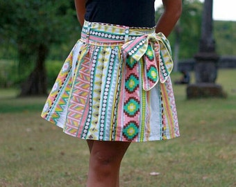 Summer Fashion Skirt / Colorful Tribal  Pink, Yellow, Green and Grey Mini Skirt with Sash Belt / Ready to Ship