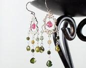 Watermelon Tourmaline Chandelier Earrings, Sterling Silver dangle earring, pink green gemstone fine earrings, holiday gift for her, ER2739
