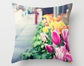 Pillow cover, spring decor, office decor, dorm decor, flower pillow, couch pillows, new york pillow, new york,new york art,nyc,decor