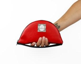"Red Vegan Leather Clutch, Round Women's Bag with Hand Strap, Convertible Clutch Wallet, Birdbags ""Nightingale"" Handbag"