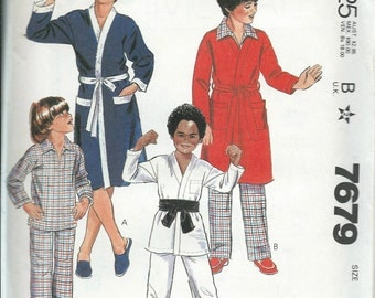 McCall's 7679 Boys and Teen Boys Robe, Jacket and Pajamas Pattern, L & XL UNCUT