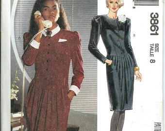 McCall's 3861 Liz Roberts Inc. Misses Dress Pattern, Size 8 UNCUT