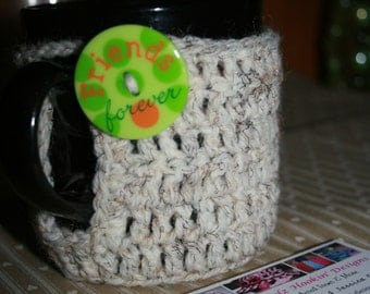 Crocheted Mug Cozy, Coffee or Tea Mug Cozy, Coaster & Insulator, 100% Acrylic, Beige Marble Color, Fits Standard Coffee Cup, Reusable