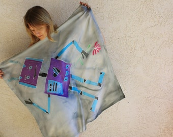 SALE! Grey Silk Scarf - Robot - Hand Painted Silk Scarf - Winter Fashion - Blue - Purple - Hipster - Blue and Grey - Robots - Geeky