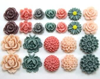 24 pcs Resin Flower Cabochons Assorted Sizes Sampler Pack - Elegant Pastel Colors (version 4)