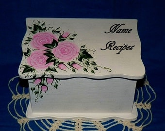 Hand Painted Personalized Wood Recipe Box Decorative Custom Recipe Card Box Wooden Wedding Recipe Organizer Pink Roses Bridal Shower Gift
