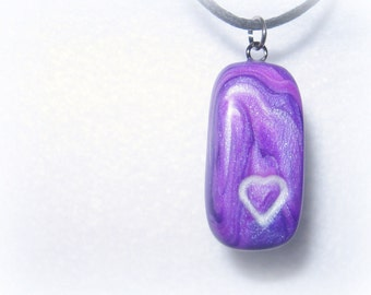 Purple Marbled Heart Necklace, Polymer Clay Jewelry Pendant.