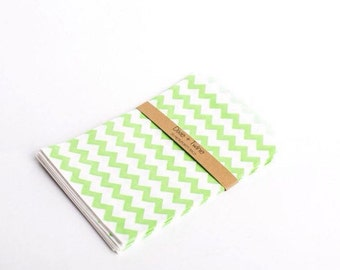 20 Lime Green Chevron Striped Paper Bitty Bags 5x7.5/ paper bags/ party bags/ treat bags/ green chevron/ loot bags/ candy bags