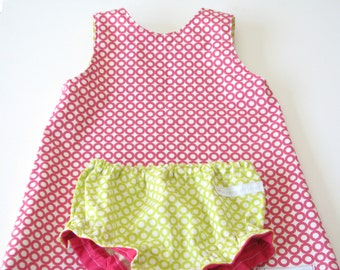 Baby girl toddler cotton A line dress - organic cotton reversibele dress and diaper cover
