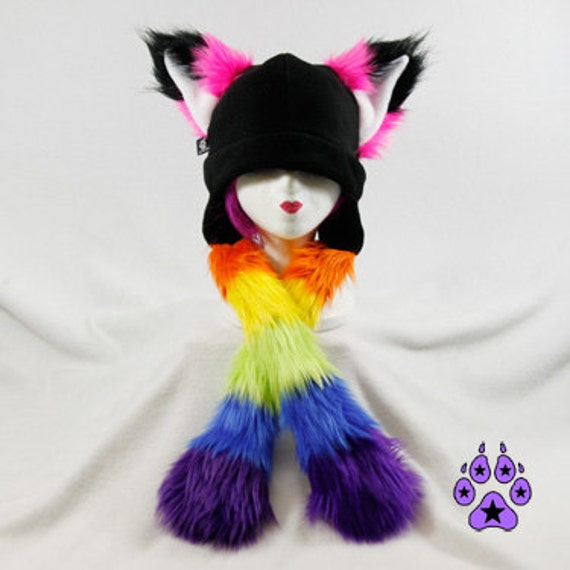 Pawstar RAINBOW STRIPE FOX Yip Hat You Pick Color Neon Pastel Red Pink Orange Yellow Lime Green Blue Purple Kitsune Pride Gay Dress Up 1873