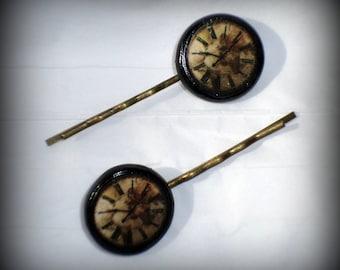 Handmade Polymer Clay Steampunk Clocks 2 Antique Bronze Bobby Pins Set