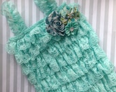 Baby girls lace romper-aqua lace romper-petti lace romper-1st birthday girl outfit-photo prop-outfit-lace outfit-baby shower gift-cake smash