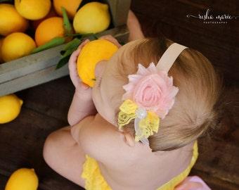 Baby girl bow headband- pink yellow headband-Pink Lemonade baby flower headband-pink lemonade birthday headband-photo prop- baby shower gift