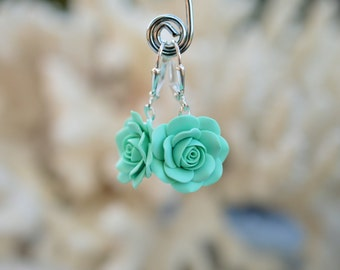 Mint Green Rose Dangle earrings, Light Mint Green Rose Earrings, Dusty Mint Green Bridesmaid Earrings, Mint Green wedding theme Jewelry