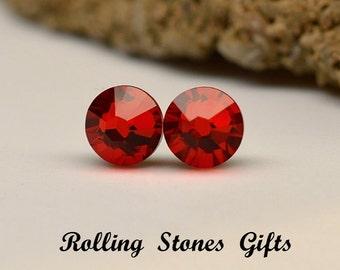 7.27mm Light Siam Swarovski Flat back Rhinestone Stud Earrings-Bright Red Crystal Studs-Small Red Stud Earrings-Christmas Red Studs