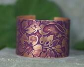 """Etched Copper Cuff Bracelet Purple Hawaiian Flowers Wide 1 & 1/2"""""""