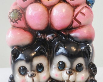 Vintage Ceramaster Bank with Cats and Balloons ~ Vintage Coin Bank ~ Cat Bank ~ Kitties ~ Cat Lover ~ Vintage Balloons ~ Plastic Coin Bank