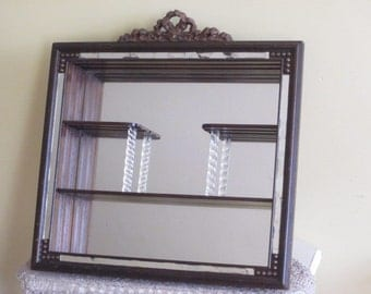 Vintage Mirrored Hanging Wall Shelf Curio Shadowbox with Glass Pillars & Floral Bow Header