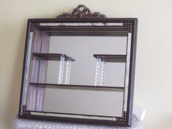 Vintage Mirrored Hanging Wall Shelf Curio Shadowbox With Glass