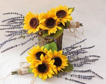 Lavender Bouquet, Wedding Bouquet, Sunflower Bridal Wedding Lavender Bouquet, Lavender Boutonniere, Burlap Wedding Bouquet,  4 pc set