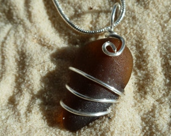 Wire wrapped brown sea glass necklace with sterling silver chain