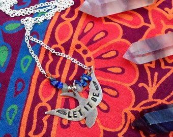 LET IT BE - stamped bird necklace with Lapis & Aventurine - brass and Silver plated