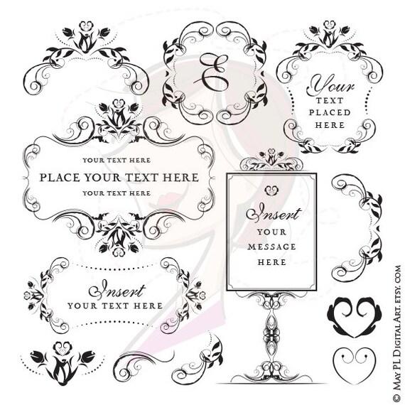 Digital Stamp Design Flourish Rose Border Corner Clip Art: Flower Png Frames Swirl Clip Art Vintage Flourish Wedding
