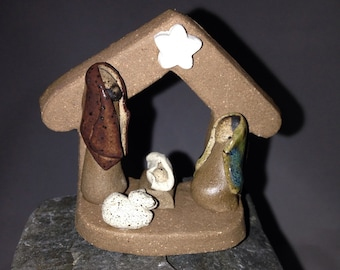 Miniature ceramic stoneware nativity