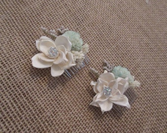 Bridal Hair combs, Hair comb, Accessories, Bobby Pins, Flower Bobby Pin, Wedding Hair Accessories, Mint hair Pin
