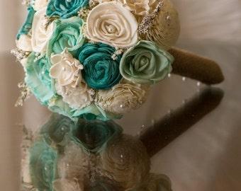 Sola Bouquet, Burlap Bouquet, Teal bouquet, bride bouquet,  Wedding Bouquet, Alternative Bouquet,  Bouquet, Sola flowers, Wood Bouquet