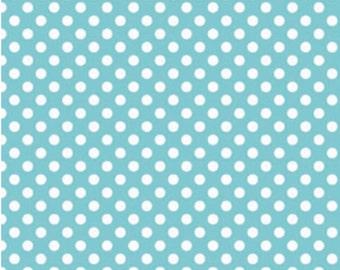 Small Dots Aqua - 1 Yard Cut -  Riley Blake Designs - Aqua Dots - Cotton Fabric - Aqua Fabric