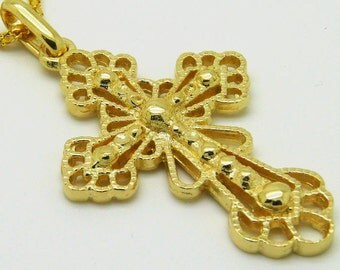 Classical Cross, 14K Yellow Gold Pendant